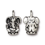 TierraCast Ganesh Charm, Antique Silver